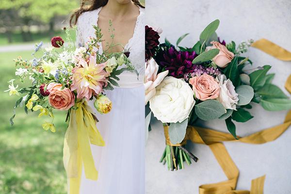 букет за свадба жолти ленти